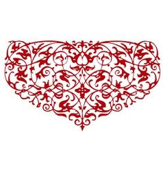 ornamental heart shape vector image vector image