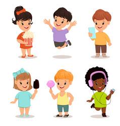 Children set cute kids with popcorn smartphone vector