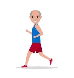 flat cartoon old man running jogging vector image vector image
