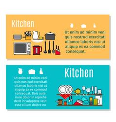 kitchen horizontal flyers in cartoon style vector image vector image