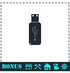 Usb flash drive icon flat vector image