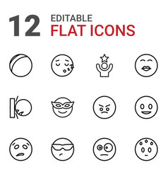 12 funny icons vector