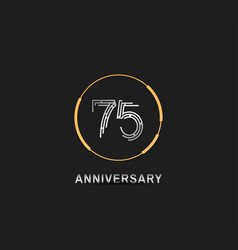 75 anniversary logotype with silver number vector