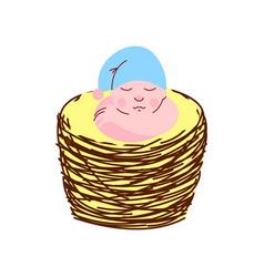 adorable newborn baby in light blue gnome cap vector image