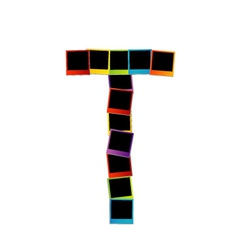 Alphabet T with colorful polaroids vector image