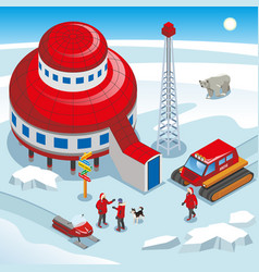 arctic polar station isometric vector image