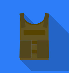 Army bulletproof vest icon in flat style isolated vector