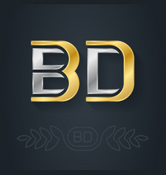 b and d - initials bd - metallic 3d icon vector image