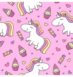 Baby seamless pattern with unicorns vector