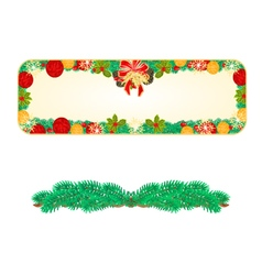 Banner Christmas Spruce and bow with pine cones vector image