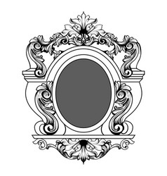 Baroque mirror frame round decor design vector