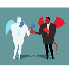 Battle heaven and hell Angel and demon combat vector image