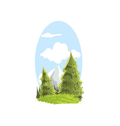 Beautiful hand drawn landscape scene with firs and vector