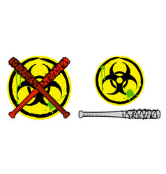 Biohazard sign and baseball bats in barbed wire vector