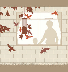 Bird feeder entertainment vector