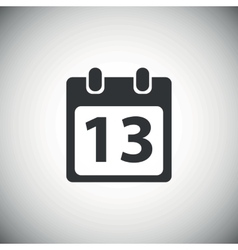Black day 13 calendar icon vector