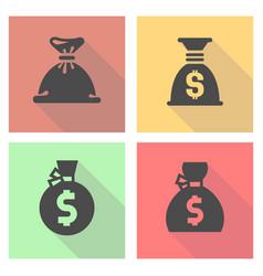 black money bag set on a colored square vector image