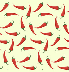 bright flat pattern with red chili pepper vector image