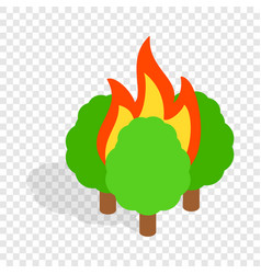 Burning trees isometric icon vector