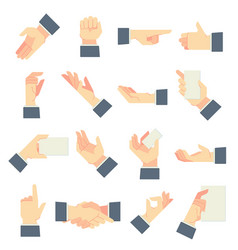 businessman hands gestures direction pointing vector image