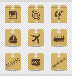 cardboard box icons with delivery signs isolated vector image