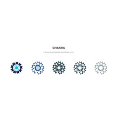 Chakra icon in different style two colored and vector