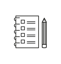 checklist with a pencil to do list outline icon vector image