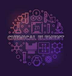 chemical element colored round outline vector image