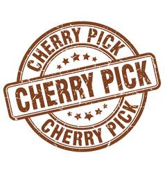 Cherry pick brown grunge stamp vector