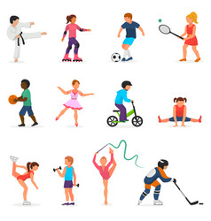 Child in sport boy or girl character vector