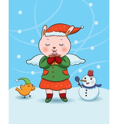 Christmas bunny angel vector
