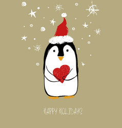 Christmas greeting card with cute penguin vector