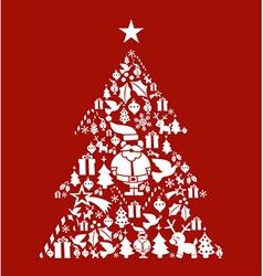 Christmas icon set in pine tree shape vector image