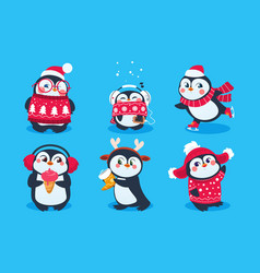 christmas penguin funny snow animals cute baby vector image