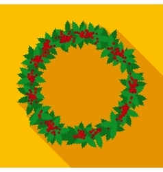 Christmas Wreath in Flat Style with Long Shadows vector image