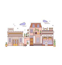 cityscape with facades elegant buildings vector image