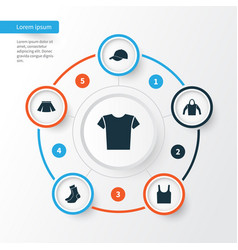 Clothes icons set collection of trilby casual vector