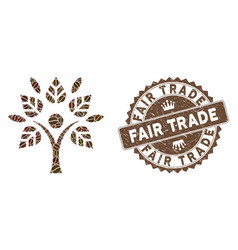 Coffee collage eco man with grunge fair trade seal vector
