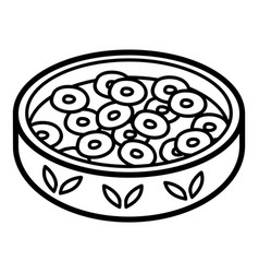 Coloring book cereal with milk in bowl vector