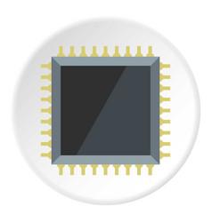 Computer microchip icon circle vector