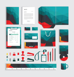 Corporate identity design template with polygonal vector