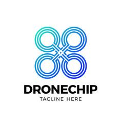 creative logotype simple line chip drone logo vector image