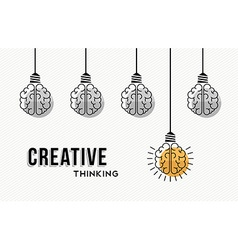 Creative thinking concept design with human brains vector