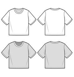 Crop top tee fashion flat sketch template vector