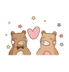 cute bears couple vector image