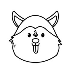 cute dog siberian head on white background thick vector image