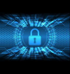 cyber security lock circle vector image