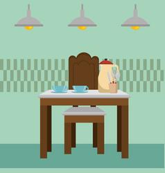 Dinning room table kitchen scene vector