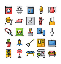Family and home flat icons pack vector