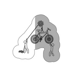 figure people with pulleys hanging the bicycle vector image